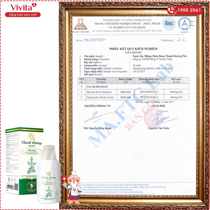 giấy chứng nhận thanh hương plus