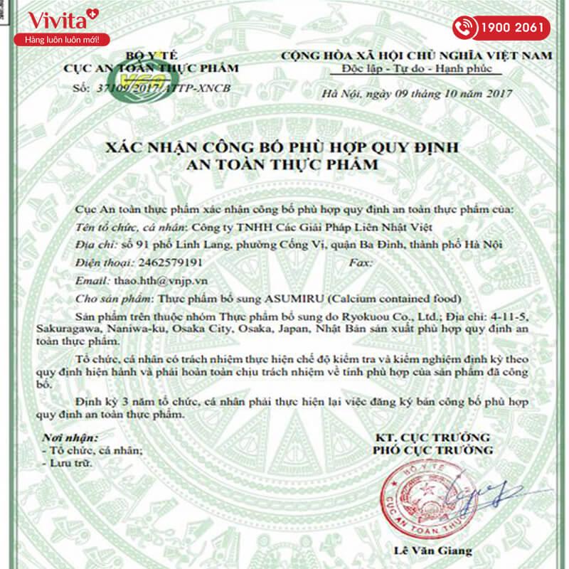 giấy chứng nhận asumiru