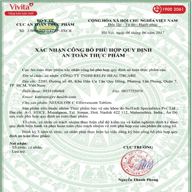 giấy chứng nhận viên sủi neuglow c