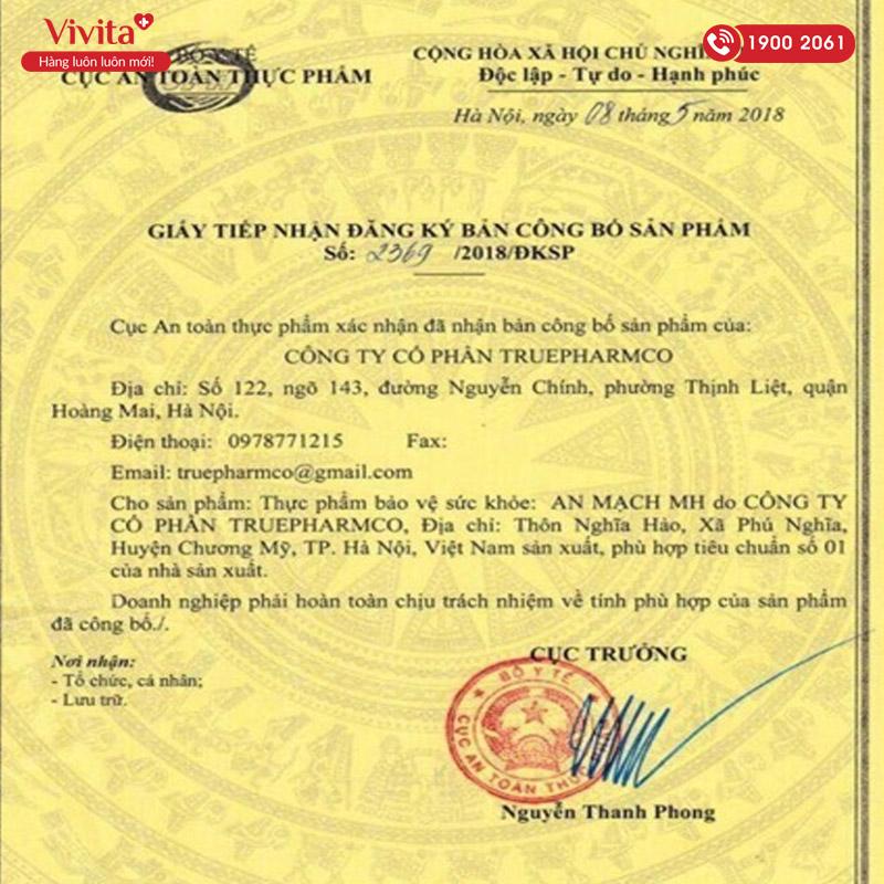 giấy chứng nhận an mạch mh