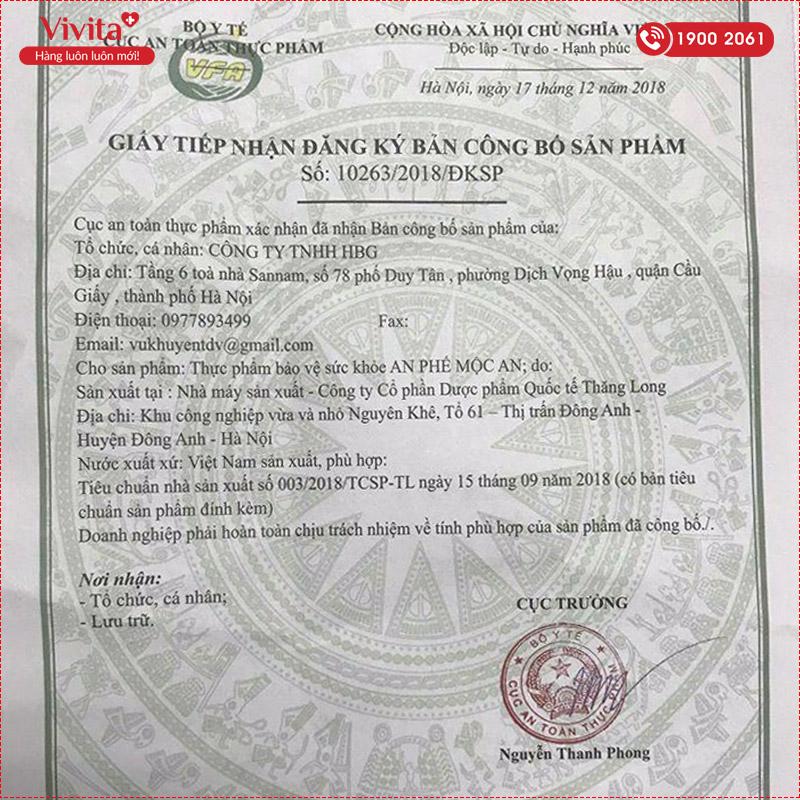 giấy chứng nhận an phế mộc an