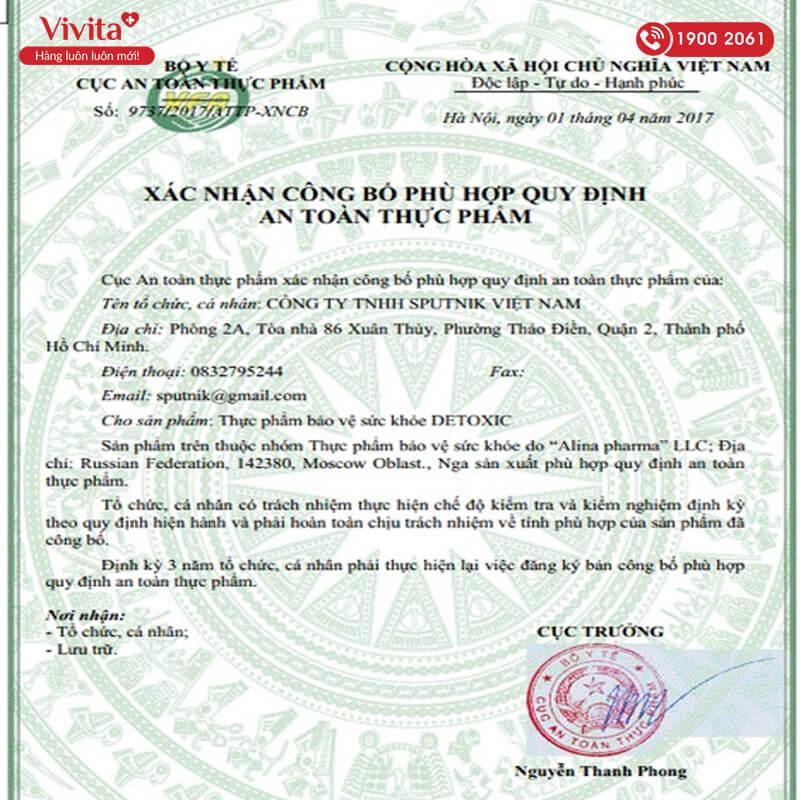 giấy chứng nhận detoxic