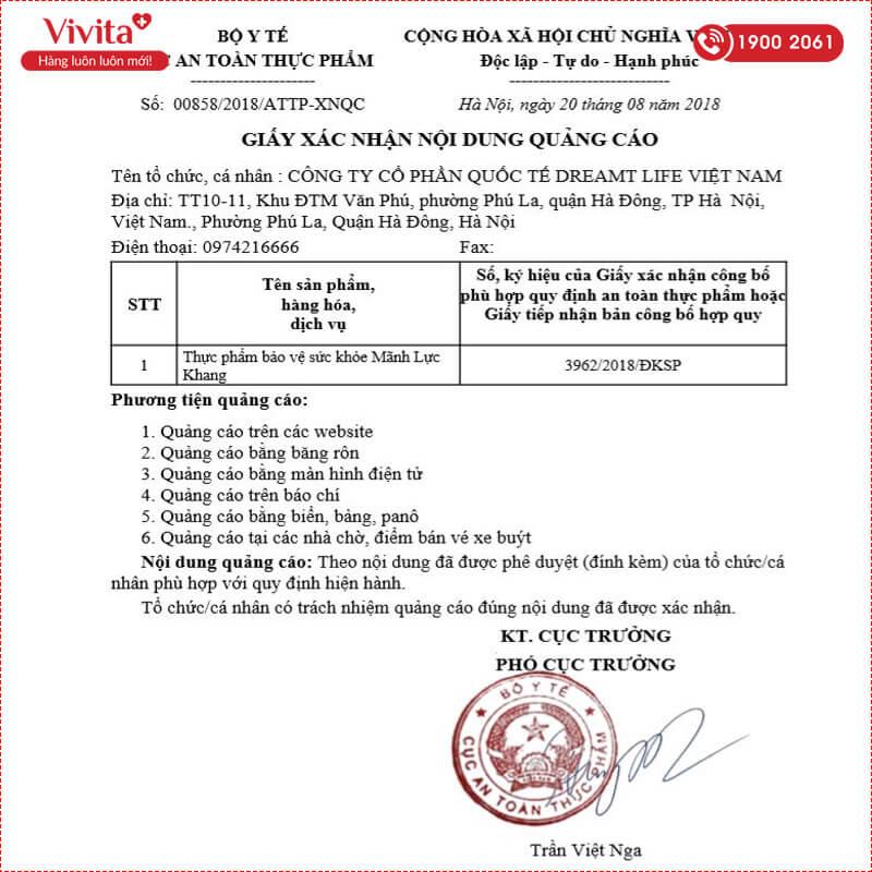 giấy chứng nhận mãnh lực khang