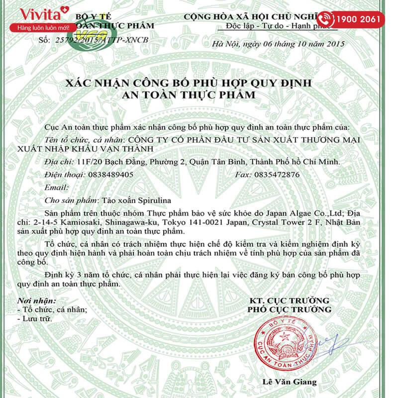 giấy chứng nhận tảo xoắn spirulina