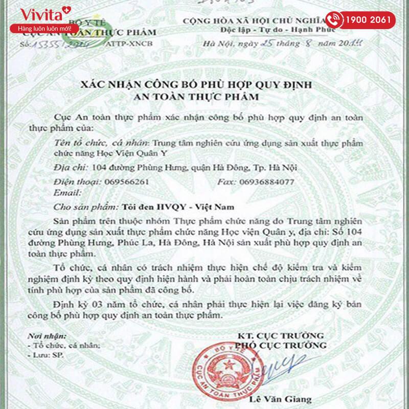 giấy chứng nhận tỏi đen hvqy