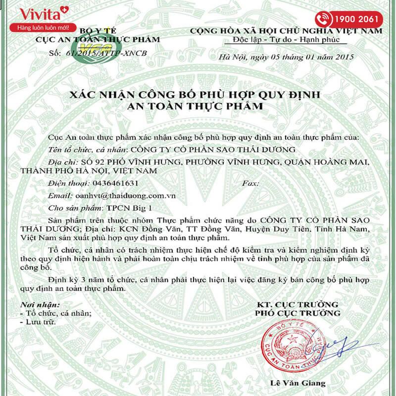 giấy chứng nhận big 1 thái dương