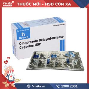 Thuốc trị viêm loét dạ dày Omeprazole Delayed - Release Capsules USP hộp 100 viên
