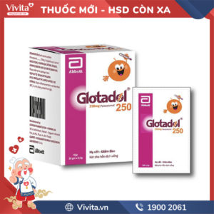 Thuốc giảm đau, hạ sốt Glotadol 250mg Hộp 20 gói