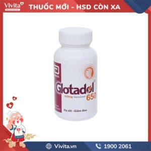 Thuốc giảm đau, hạ sốt Glotadol 650mg Chai 200 viên