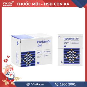 Thuốc giảm đau, hạ sốt Partamol 250mg Hộp 20 gói