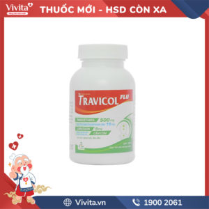 Thuốc trị cảm cúm Travicol Flu Chai 100 viên