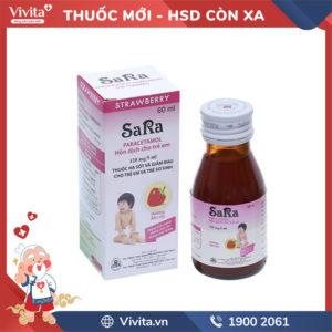 Siro giảm đau, hạ sốt cho trẻ em hương dâu Sara Chai 60ml