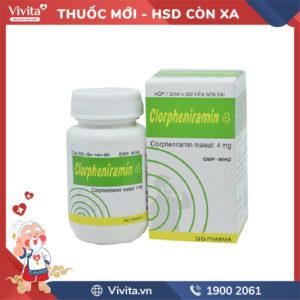 Thuốc chống dị ứng Clorpheniramin 4 Chai 200 viên