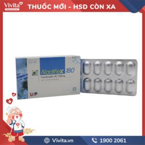 Thuốc chống dị ứng Nadifex 180 Hộp 10 viên