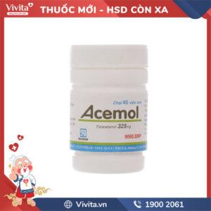Thuốc giảm đau, hạ sốt Acemol 325mg Chai 40 viên