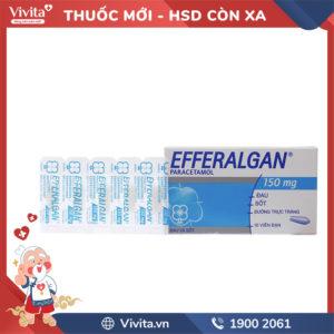 Viên đặt giảm đau, hạ sốt Efferalgan 150mg Hộp 10 viên