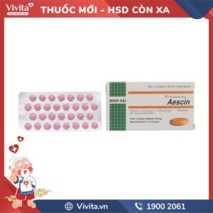 Thuốc trị trĩ, suy giãn tĩnh mạch Aescin 20mg Hộp 90 viên
