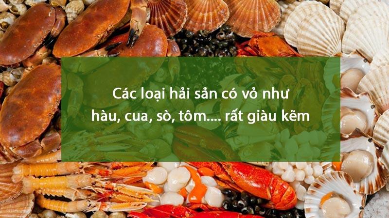 Các hải sản sản có vỏ là thực phẩm giàu kẽm