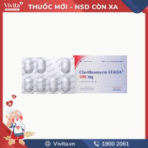 Thuốc kháng sinh trị nhiễm khuẩn Clarithromycin Stada 500mg