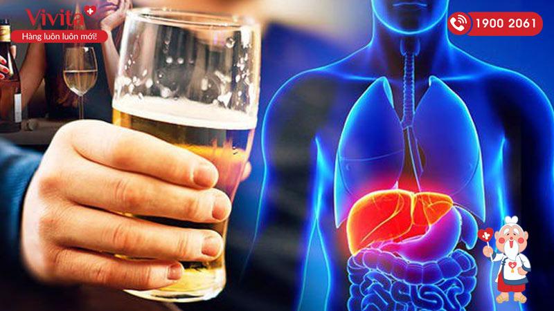 uống nhiều rượu bia gây tăng nguy cơ xơ gan