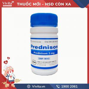 Thuốc giảm đau, kháng viêm Prednison 5mg nén xanh