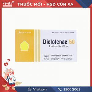 Thuốc giảm đau, kháng viêm Diclofenac Uphace 50mg