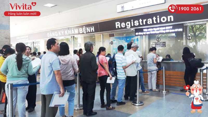 Khu đăng ký khám bệnh tại cơ sở 1 bệnh viện ĐHYD TP.HCM