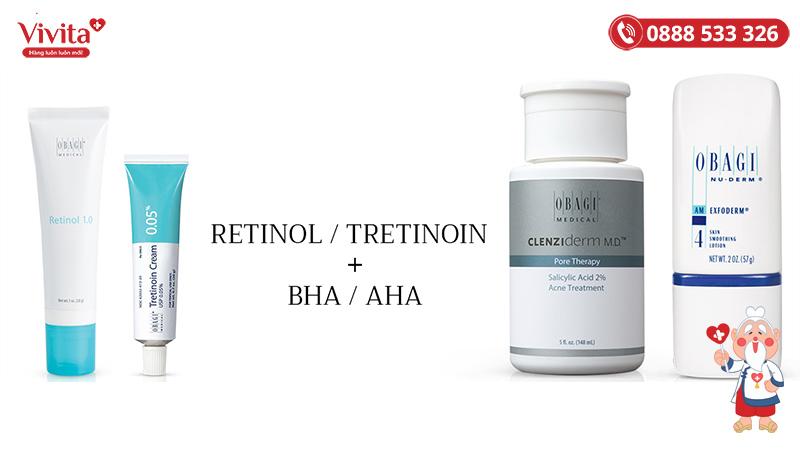 Retinol có thể kết hợp với BHA/AHA, Vitamin C