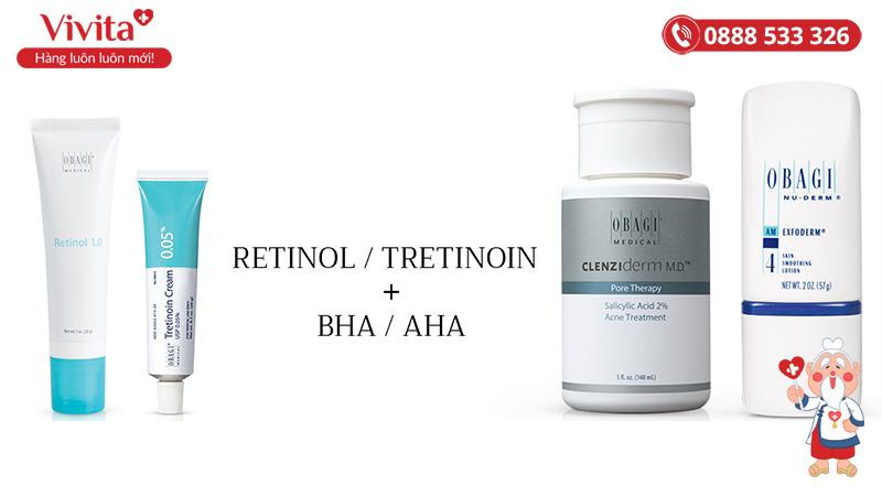 Thứ tự sử dụng Retinol/Tretinoin với các hoạt chất khác