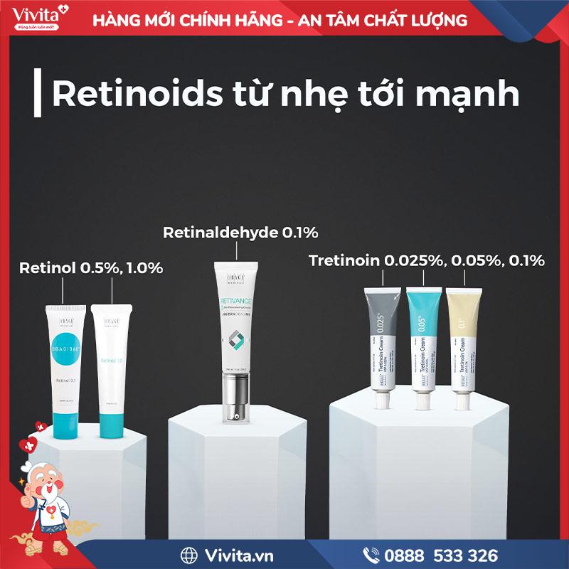 Retinaldehyde hoạt động mạnh hơn retinol, yếu hơn tretinoin nhưng ít gây kích ứng hơn